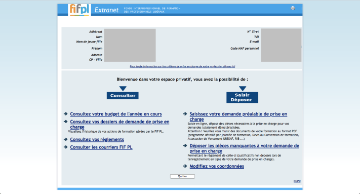 Capture d'écran de l'interface du site FIF-PL, ambiance années