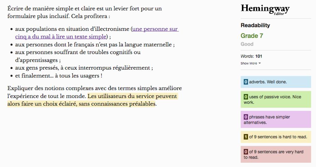 """Capture d'écran de l'interface Hemingway : le texte a la note """"Bonne lisibilité. Niveau 7"""""""