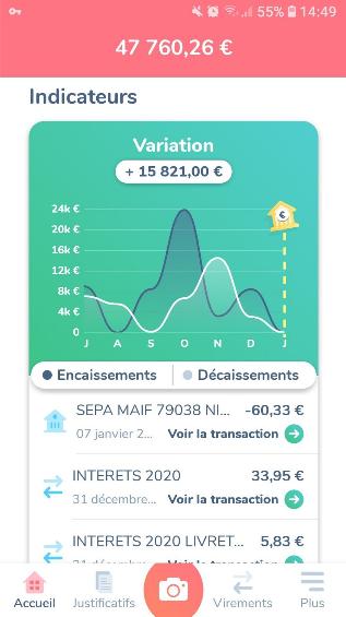 Capture d'écran d'une appli financière.
