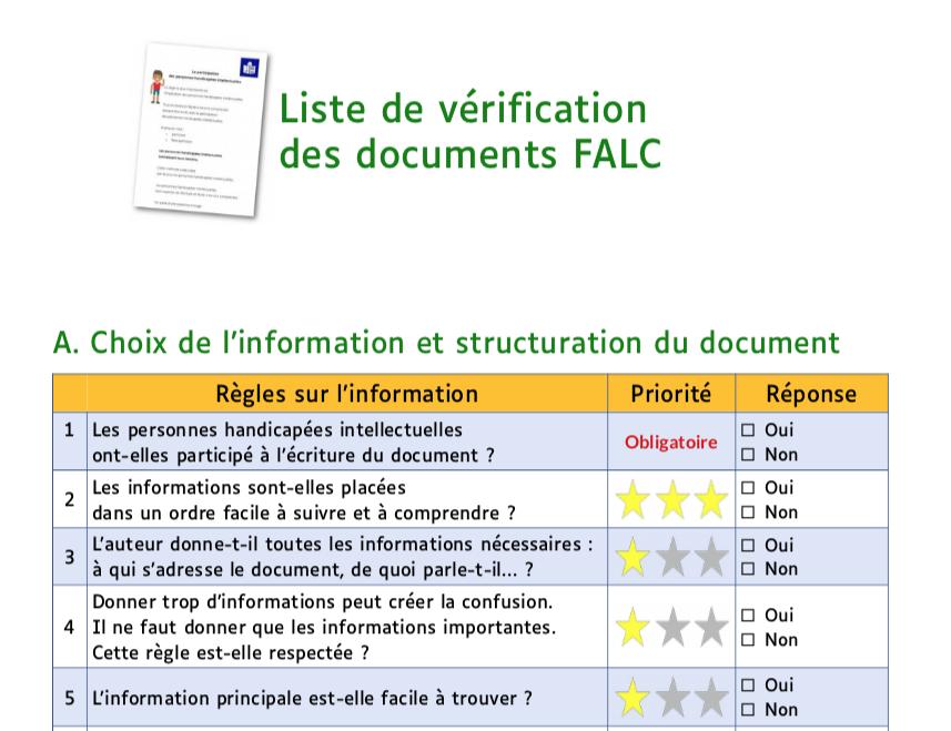 Extrait de la checkliste FALC : un tableau affiche une liste de bonnes pratiques, et leur priorité :  Les personnes handicaptées intellectuelles ont-elles participé à l'écriture du document ? Les informations sont-elles placées dans un ordre facile à suivre et à comprendre ? ...