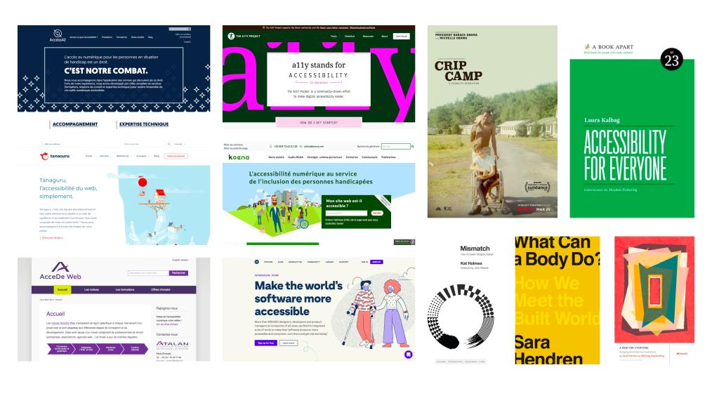 Capture d'écrans de sites dédiés à l'accessibilité, de films ou couvertures de livres.