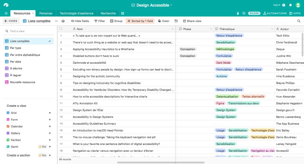 """Tableau de ressources sur Airtable. Chaque ressource a un nom, un auteur et des tags """"phase"""" ou """"thématique"""""""