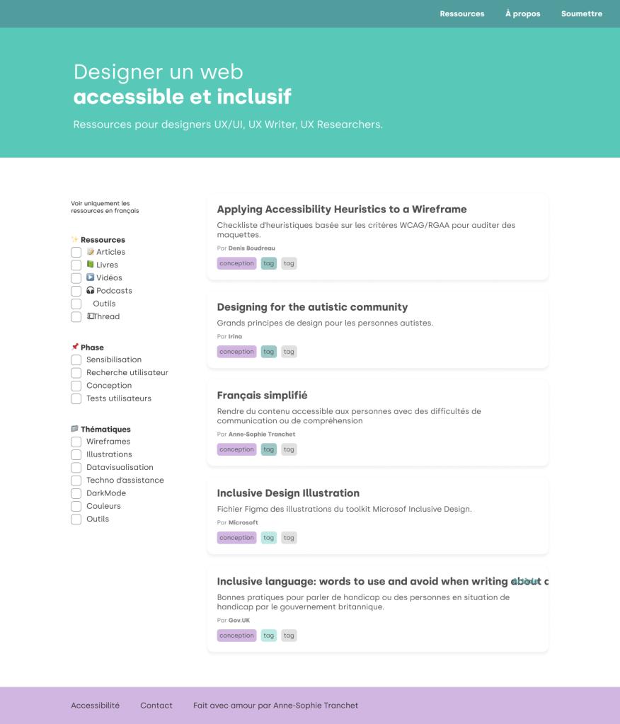 """Page d'accueil du site """"Designer un web accessible et inclusif"""". Une liste de ressources est filtrable par thématiques."""