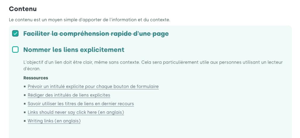 Capture d'écran d'un extrait de la checklist du designer